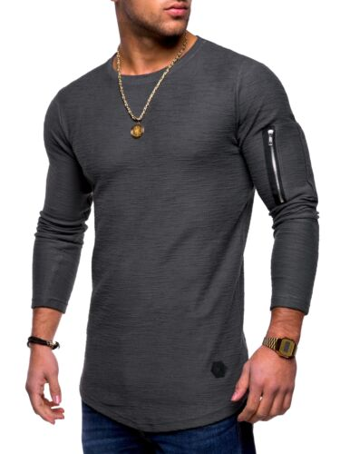 Behype Uomo 2in1 oversize Felpa Longline T-shirt Pullover Maglioncino Nuovo