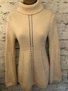 Karen-Millen-Cream-Wool-Chunky-Polo-Neck-Jumper-Size-2-UK-10-EU-38-US-6