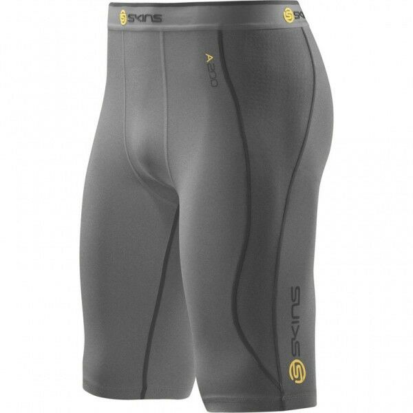 Skins A200 Men's Compression Half Tights Grey Marle - b60102002