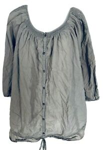 Old Navy Women's XL Blouse Maternity Button Down 3/4 Sleeves Beige Embroidery