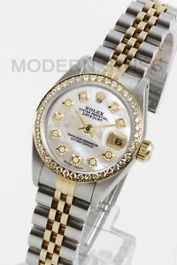 9522fad67e2 Rolex Ladies Datejust 18K Gold & Steel White MOP Diamond Dial ...