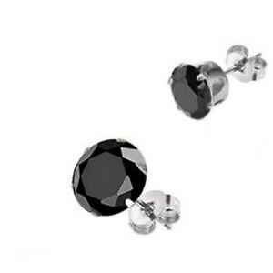 BLACK-SIMULATED-DIAMOND-ROUND-8MM-STAINLESS-STEEL-PRONG-STUD-POST-EARRINGS