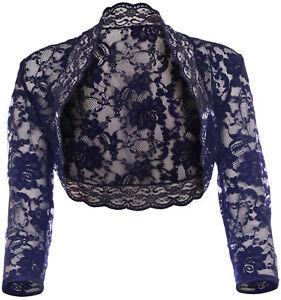 Navy Blue Lace Bolero Shrug 3/4 Sleeve Size 16