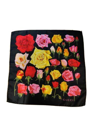 gucci floral print silk head scarf with tag