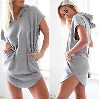 Sexy Women Summer hoodie Beach Sleeveless O-Neck Party Evening Mini Dress