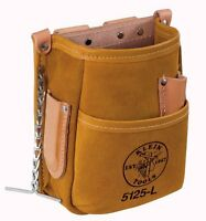 Klein Tools 5125l Leather 5-pocket Tool Pouch With Tape Thong, New, Free Shippin