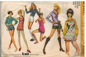 9487-Vintage-Simplicity-Sewing-Pattern-Misses-Shorts-Blouse-Top-Knit-1971-Hippie