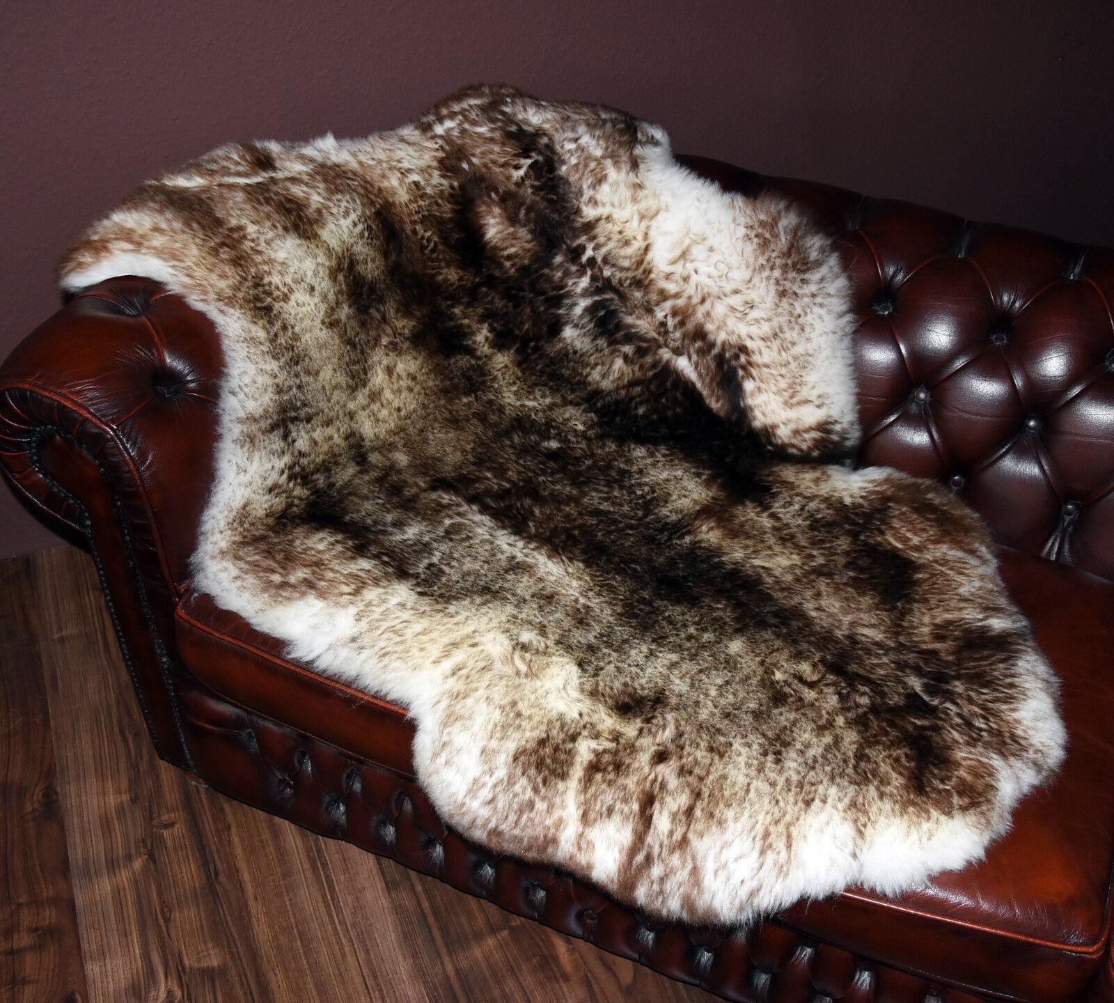 Riesen Schaffell Lammfell Fell Naturfell giant sheepskin rug geflammt 138x93cm