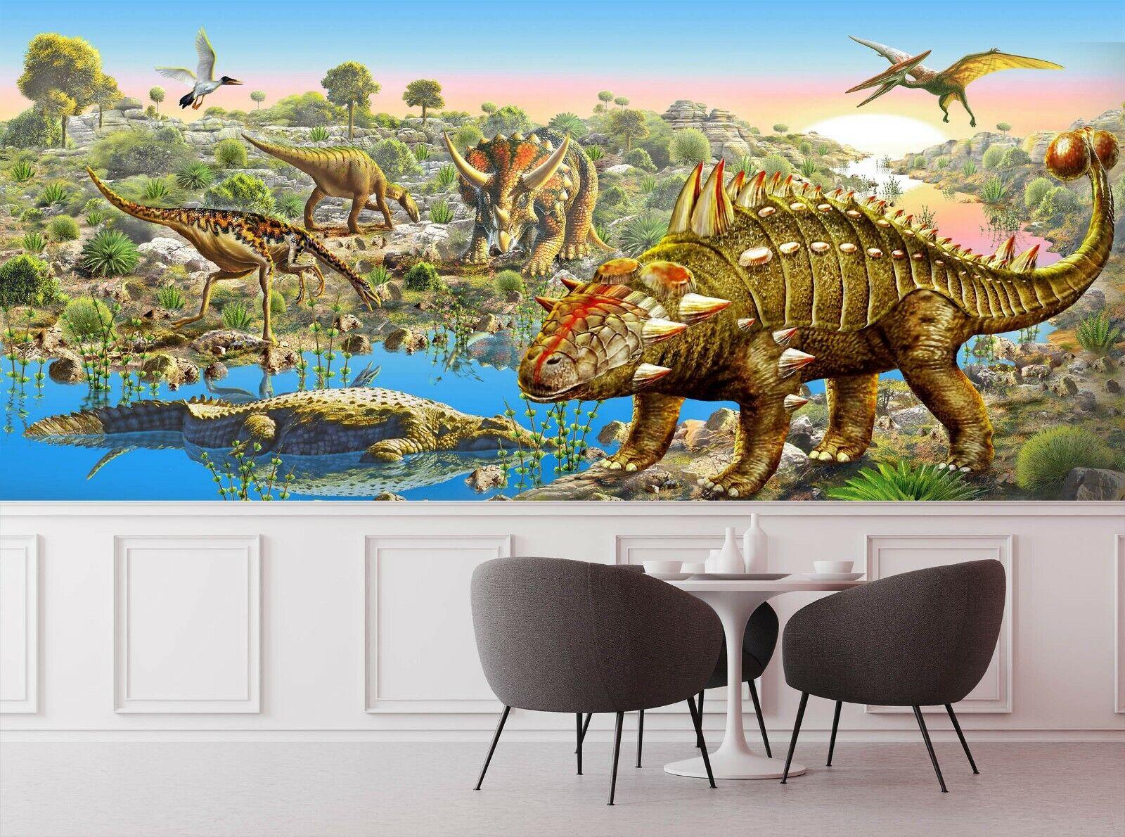 3D Dinosaur Lake N52 Wallpaper Wall Mural Self-adhesive Andrian Chesterman Su