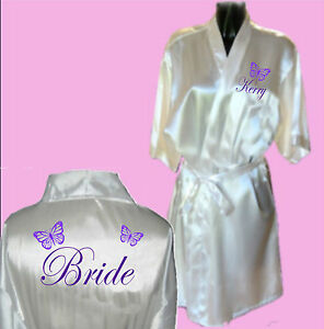 Personalised-Butterfly-Satin-Wedding-Robe-Dressing-Gown-Bride-Bridal-Child-039-s