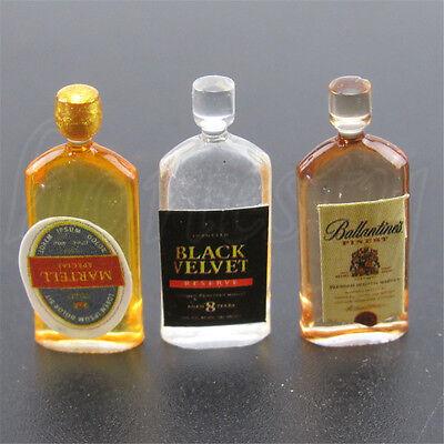 6x Dollhouse Miniature Wine Whisky Bottles Pub Bars Drinks Accessory Mini`Decors