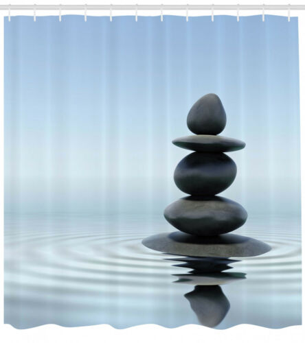 Rock DuschVorhang Zen Steine ??im Wasser Ruhe Thema Gardinen Deco mit 12 Ringen