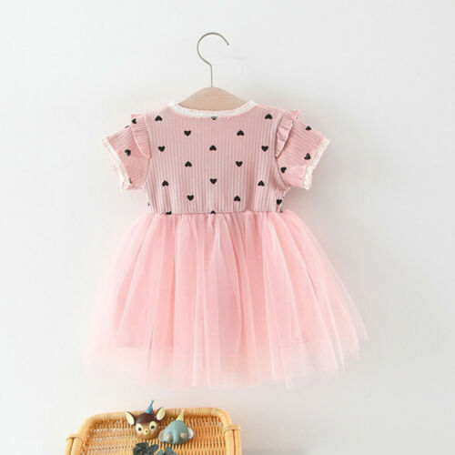 Toddler Baby Girls Ruched Patchwork Dot Tulle Skirt Party Princess Dress Clothes