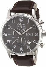 Hugo Boss HB 1512570 Herrenuhr braun Leder Armbanduhr Chronograph elegante Uhr