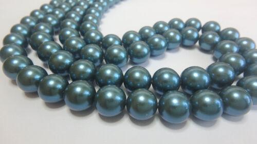 Muschelkernperlen Kugel Perle rund petrol versch Größen 5-10 Stk. 4-10 mm