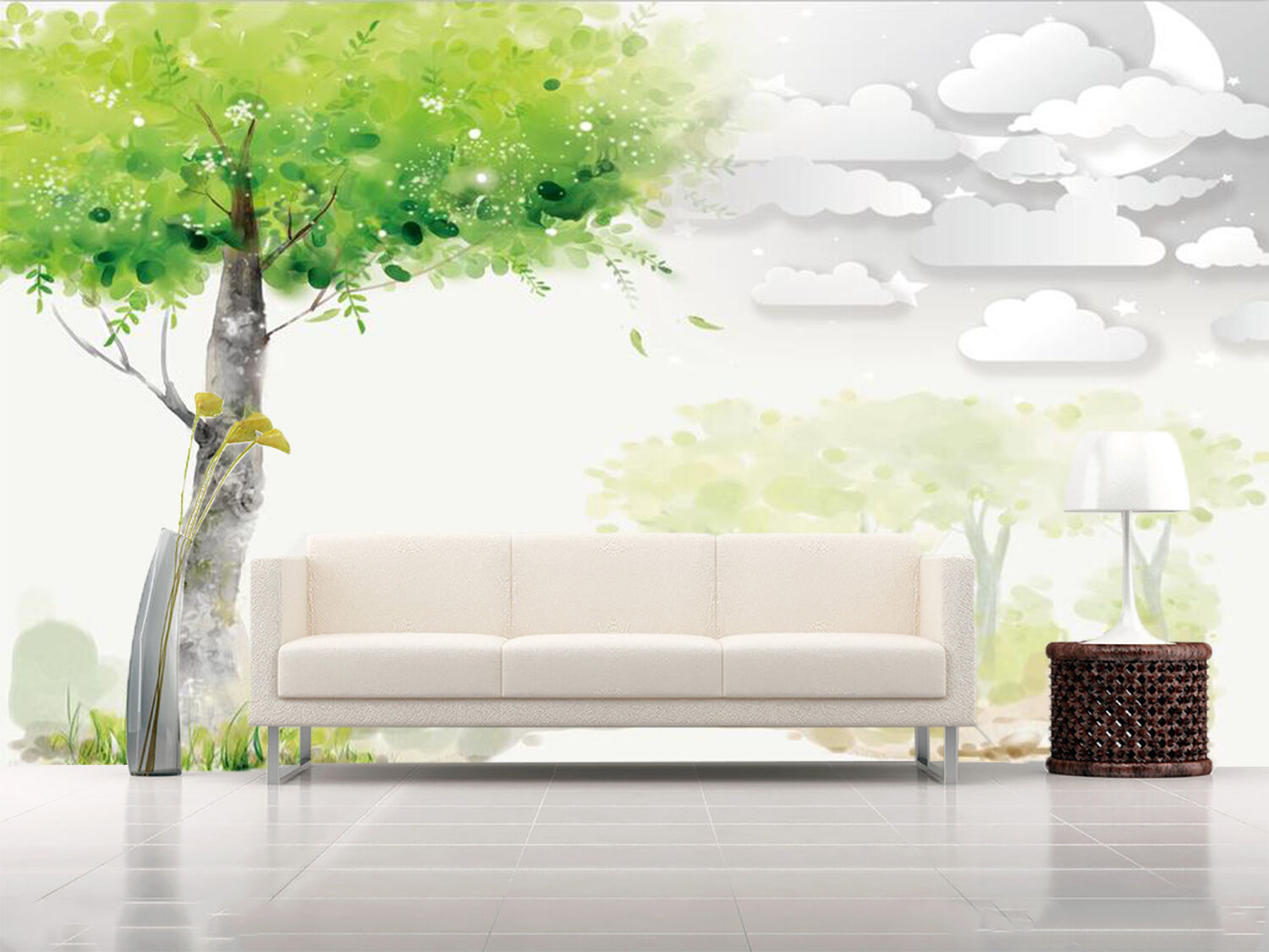 3D Grün Trees Cloulds 966 Wallpaper Mural Paper Wall Print Wallpaper Murals UK