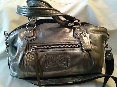 COACH Poppy Rocker Shimmer Gunmetal Silver Convertible Satchel Bag Purse RARE