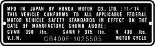 HONDA CB400F  HEADTUBE TAG  / REPRO DECAL
