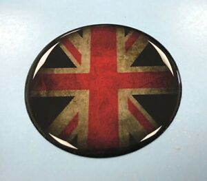 DISTRESSED-UNION-JACK-FLAG-Sticker-Decal-50mm-Diameter-GLOSS-DOMED-GEL