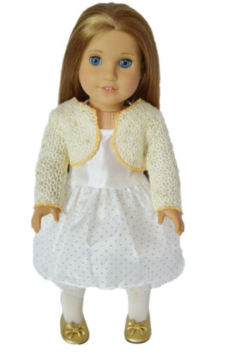 "Doll Clothes 18/"" Dress White Gold Bolero Shrug Sweater Fits American Girl Dolls"