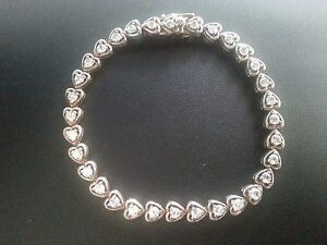 7.5\u201d Vintage sterling 925 silver double heart linked with obsidian inlay tennis bracelet stamped 925