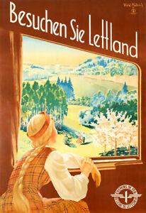 Latvian National Railways Vintage Travel Poster Visit Latvia