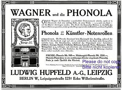 1900-09 Advertising-print Shop For Cheap Self Playing Piano Phonola German Ad 1907 Hupfeld Leipzig Richard Wagner