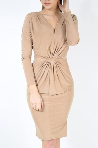 Ladies Ruched VPlunge Neck Draped Front Knot Stretchy Slinky Bodycon Midi Dress
