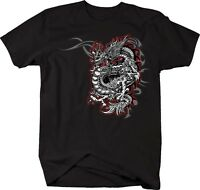 Tshirt -red & Silver Dragon