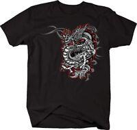 Tshirt -red & Silver Dragon