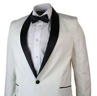 Mens Cream Ivory Tuxedo Dinner Suit Black Shawl Collar 3 Piece Wedding Prom