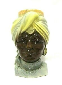 Vintage-Royal-Copley-Head-Vase-Wall-Pocket-Sultan-Blackamoor-Turban-Gypsy
