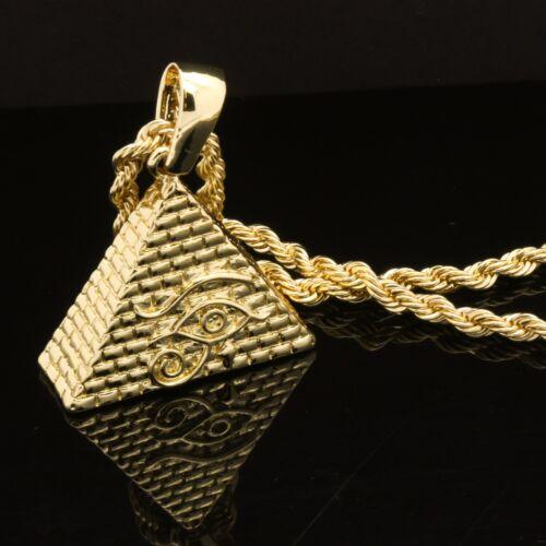 """Homme Hip Hop 14k plaqué or Oeil de Horus Pyramide Pendentif 24/"""" 4 mm TCH Corde Chaîne"""