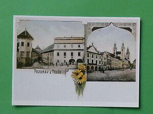 Telc-Gruesse-a-TELTSCH-Suedwest-Maehren-Ansichtskarte-i-Litho-Stil-NEU