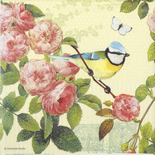 4x Paper Napkins for Decoupage Decopatch Craft Rose Scent