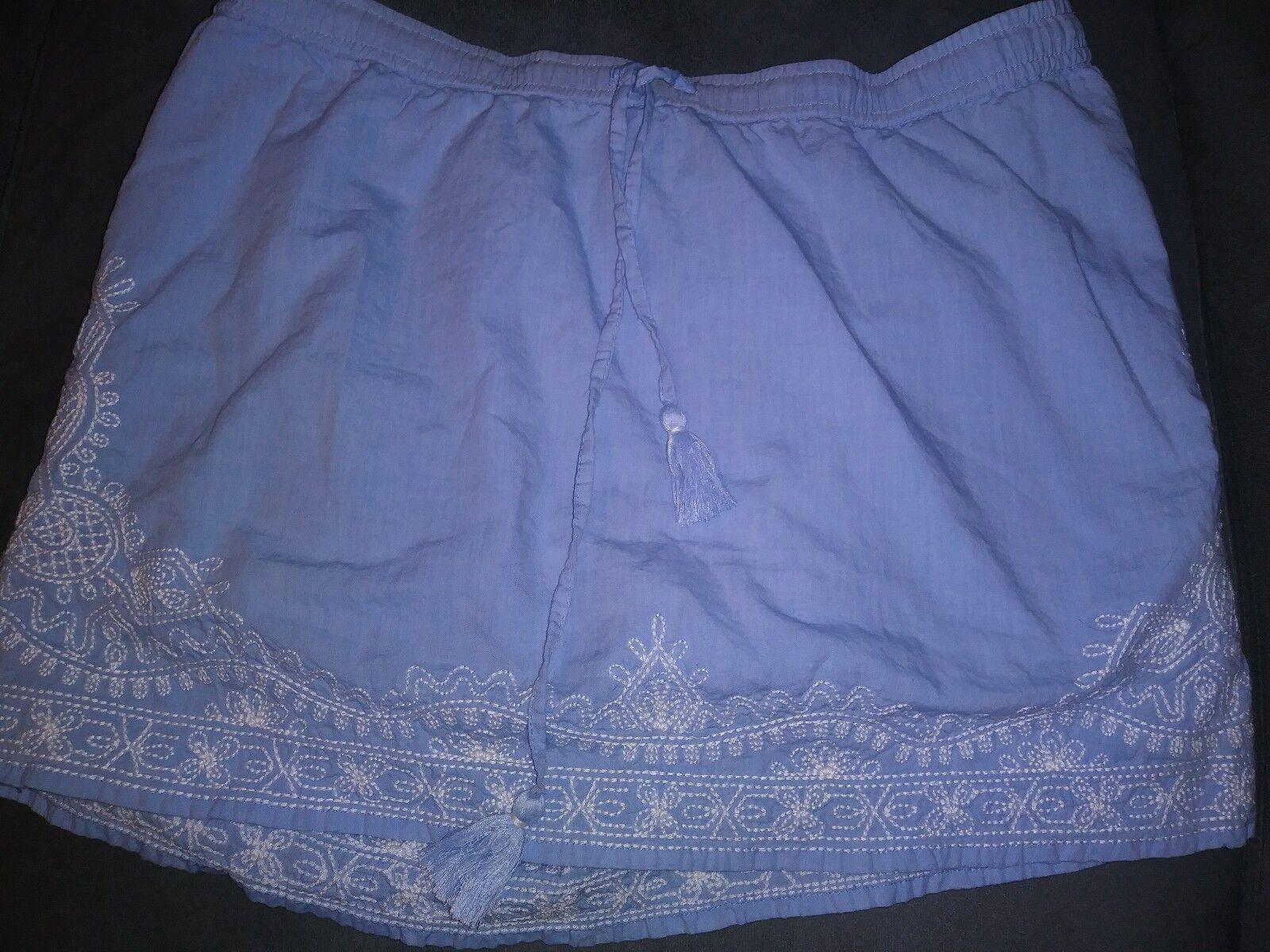 Vineyard Vines Light bluee White Embroidery Tassles Skirt Preppy Women's Sz S