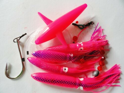 DAISY CHAIN BAIT RIG BIRD TUNA MARLIN FISHING TROLLING LURE SQUID PINK
