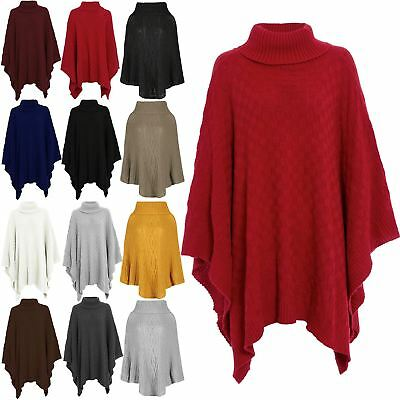 New Ladies Polo Neck Poncho Cape Knitted Winter women Poncho Shawl Plus Sizes