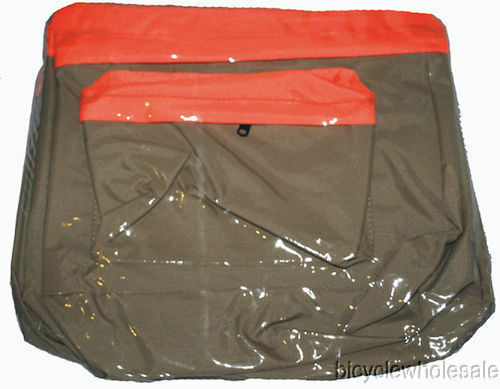 Deluxe Nylon Bicycle Pannier Bag Tan /& Orange NEW!