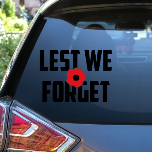 2 x Lest We Forget Help 4 Heroes Charity Fund Vinyl Decal Bumper Car Stickers UK