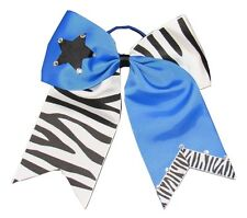 "NEW ""ZEBRA STAR Bling"" Cheer Bow Pony Tail 3 Inch Ribbon Girls Cheerleading"