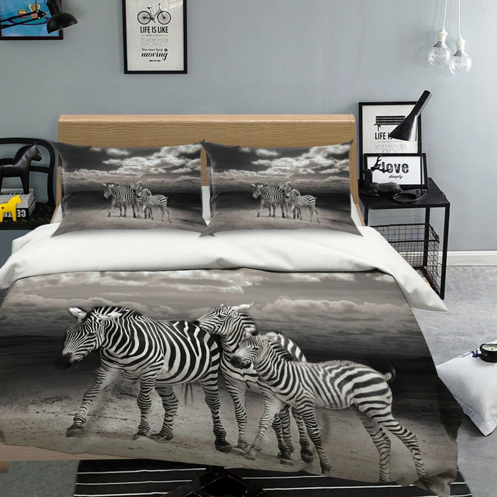 3D Zebra M115 Animal Bed PilFaible Cases Quilt Duvet Cover Set Angelia