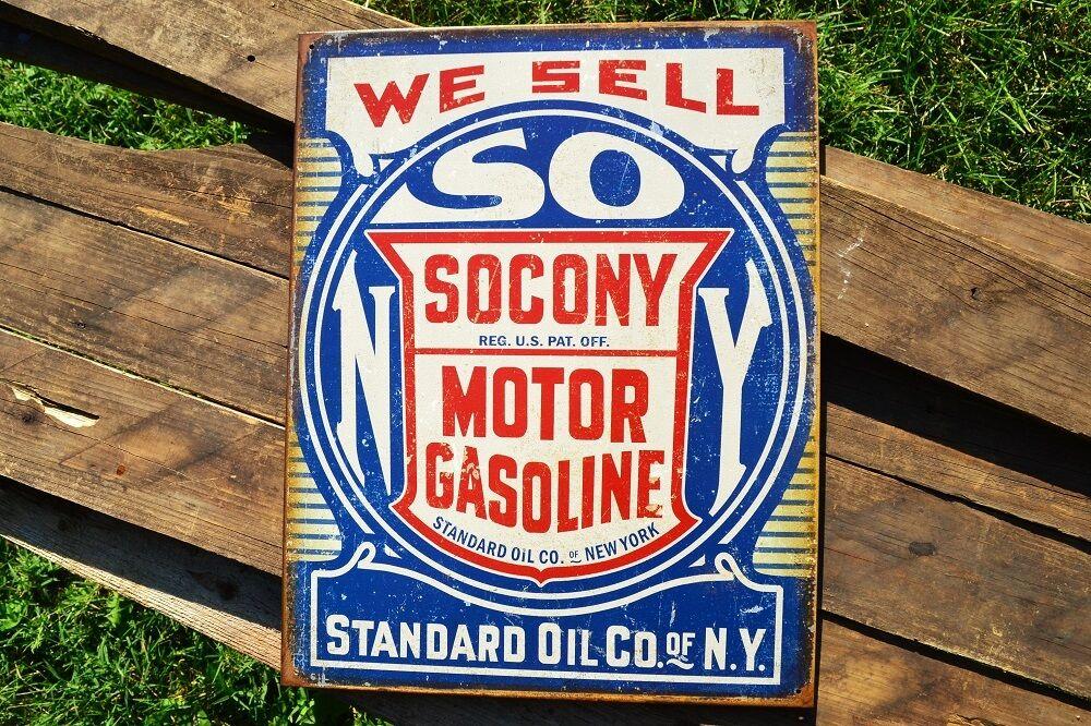 Standard Oil Company Gas Station Tin Metal Sign Chevron Gasoline