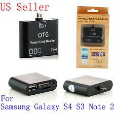 USB OTG Host Adapter+SD Card Reader For Samsung Galaxy S3 SIII S4 Note 2