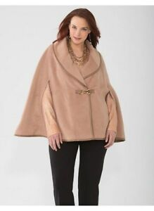 LANE-BRYANT-CAMEL-PONCHO-WITH-FAUX-LEATHER-SIZE-1X-2X-3X-189-NWT