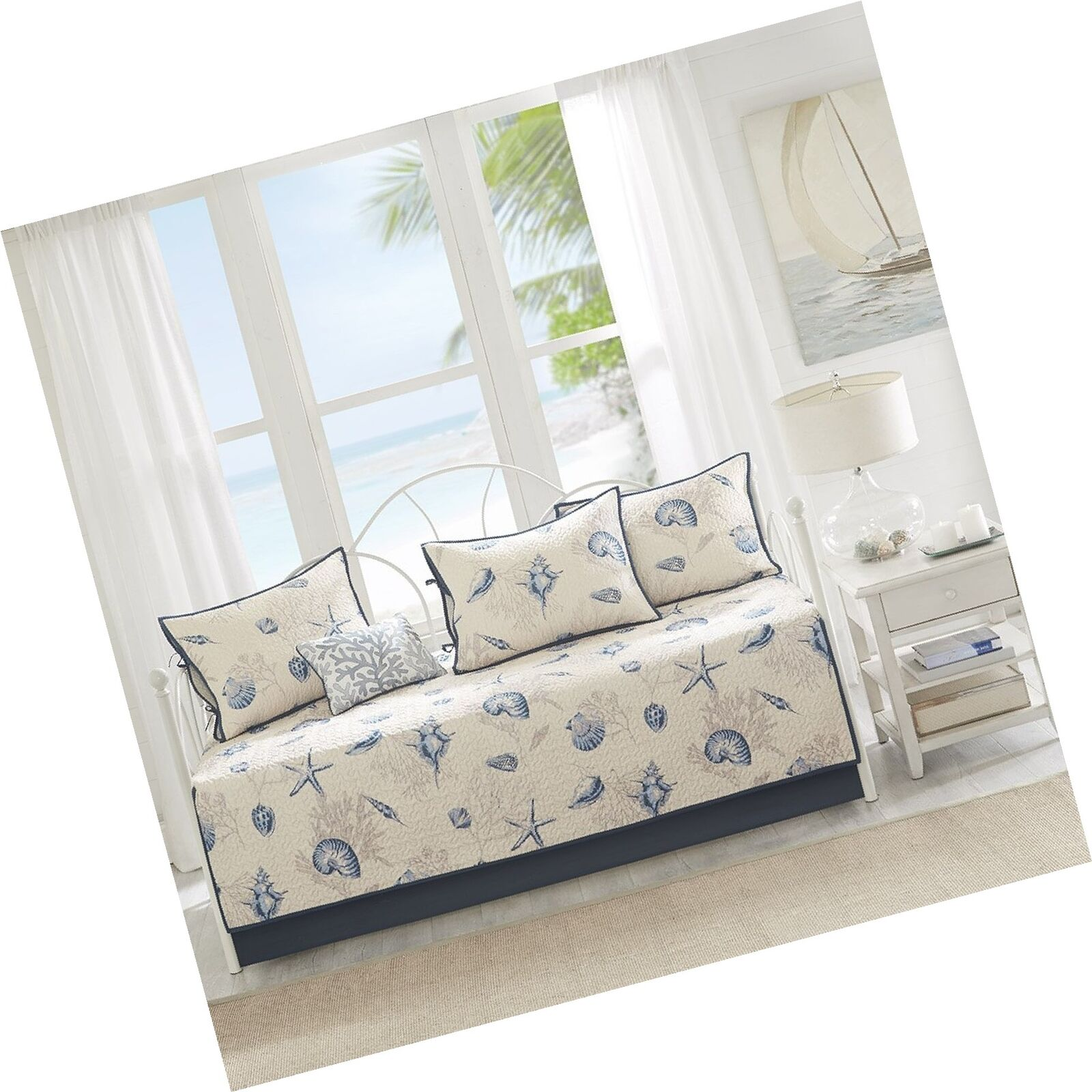 Madison Park Bayside Daybed Size Quilt Bedding Set - blueeee, Khaki, Seashells –...