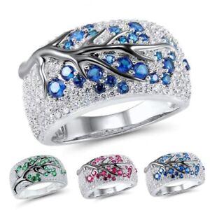 Huebsche-Frauen-Kristall-Strass-Ringe-Rundschnitt-Mode-Ehering-Groesse-6-10