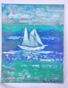 Original-Acrylic-Painting-8-x-10-Canvas-Panel-Ship-Nautical-Tropical-Coastal-Art