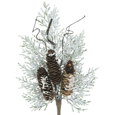 Frosted Cedar Leaves Pine Cones Pick Approx 15 X 6 Ebay