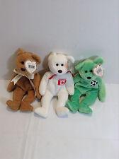Original Ty Beanie Baby CURLY the BEAR, Maple the Bear & Kicks the BEAR set of 3